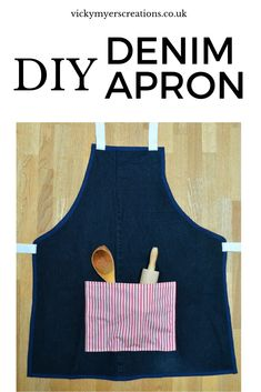 Old tired jeans? Learn how to sew them up into an apron, this makes a great gift for any budding child - what child doesn't love to help cook? Upcycle your denim Sew Your Own Clothes, Sewing Clothes, Apron Tutorial, Headband Tutorial, Old Jeans, Denim Jeans, Charity Shop, Recycled Denim, Learn To Sew