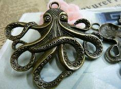2pcs 56x59mmThe Octopus  Antique Bronze  Charm Pendant by Agoni, $2.98