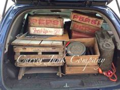 Carver Junk Company load of junk with tons of old crates of all styles and sizes. Pepsi, Arm & Hammer, incubator, gas can, etc.
