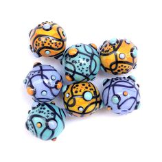 ChaChaCha  Round Lampwork Glass Bead Set in by sarahhornik on Etsy, $63.00
