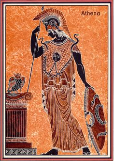 This a picture of athena the goddess of war and domestic life and crafts. Although she is most known as a greek goddess she predates greek mythology with origins dating back as an ancient libyan goddess correlating to the cult of the great mother. Ancient Greek Art, Ancient Greece, Ancient History, Art History, Greek And Roman Mythology, Greek Gods, Greek Paintings, Greece Art, Greek Pantheon
