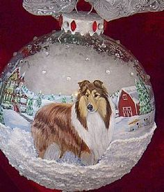 Detail Image for art Sable Collie 360 Farm Scene Christmas Ornament