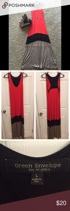 Red Maxi Dress Long Red, black, and tan maxi dress. V-neck front and racer style back. The black panel is sheer and can be seen through (4th photo). Super comfortable, 96% rayon 4% spandex. Let me know if you have any questions! I am open to offers! Green envelope Dresses Maxi