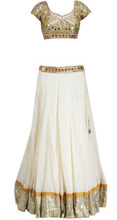 Arpita Mehta - - Offwhite and mango mirror work lehenga Mirror Work Saree Blouse, Mirror Work Lehenga, Work Blouse, India Fashion, Ethnic Fashion, Asian Fashion, Indian Bridal Wear, Indian Wear, Indian Dresses