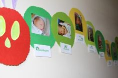 The Very Hungry Caterpillar birthday photo banner for a first birthday. How adorable is this idea?