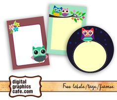 Cute owl label, tags, free graphics
