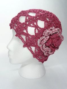 Lacy Crochet Hat in Cardinal Red with crochet flower by toppytoppy, $22.00