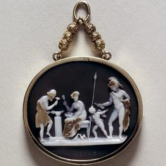 Cameo depicting Vulcan's forge with Mars, Venus, Cupid, and Vulcan; circa 1830
