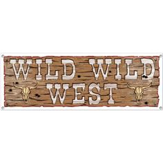 Wild West Sign Banner (Each) - Banners & other Decorations from Birthday in a Box