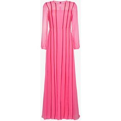 Adam Lippes Silk Pleated Dress With Red Stripes (8,210 SAR) via Polyvore featuring dresses, red silk dress, striped silk dress, stripe dresses, pink stripe dress and red stripe dress