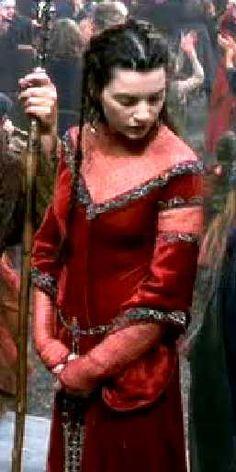 Morgaine Le Fay from the The Mists Of Avalon (2001) by Uli Edel and Costume design: James Acheson and Carlo Poggioli