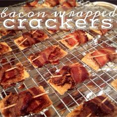 bacon wrapped crackers! baked with either brown sugar or parmesan.  such a delicious appetizer for New Years Eve!
