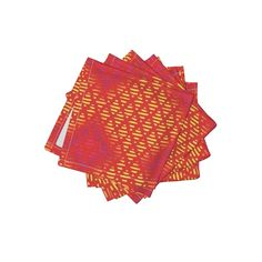 Frizzle Cocktail Napkins featuring INDIA RAINBOW DIAMOND PATTERN RED by paysmage   Roostery Home Decor
