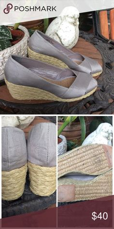 """Lauren by Ralph Lauren Cecilia Espadrilles NWOT. Bought for my mother-in-law. They were too large for her. Beautiful shantung upper (glossy silk texture), balance man made.  Platform approx. .5""""; heel 2 2/3"""". Lauren Ralph Lauren Shoes Espadrilles"""