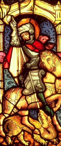 Stained Glass Window Depicting Saint George by German School