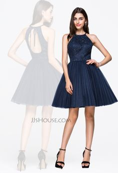 This chic princess scoop neck short tulle & lace dress is perfect for your next special event! #JJsHouse
