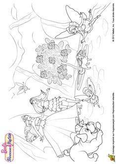 Coloriage du dessin de Barbie qui découvre la cachette secrète des fées.
