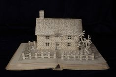 The Country Cottage Book Sculpture by Emma Taylor  From Within a Book... #bookart #booksculpture #paperart