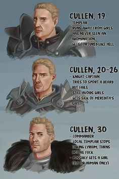 "princessvicky01: "" statisticsfag: "" Cullen Rutherford through the ages. How can I keep the character likeness consistant when Bioware doesn't? :'D Who's your favourite Cullen? :D "" Commander :D """