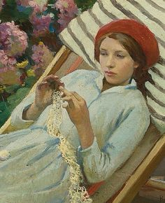 Girl with a red hat (detail), 1916 // by Harold C. Harvey (British 1874 - 1941)
