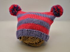Hand Knit Baby Girl Striped Hat With Pom Poms on Etsy, $20.00