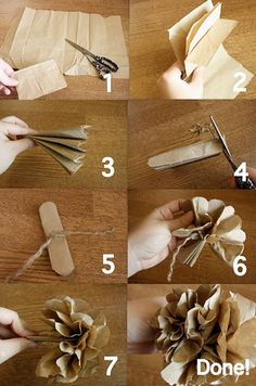 Vintage paper flowers ~ I made these as a child from tissue paper. Never thought to use brown paper bags. Paper Bag Crafts, Diy Paper, Diy Crafts, Paper Poms, Handmade Flowers, Diy Flowers, Flower Decorations, Flower Ideas, Fall Flowers