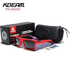 d135ba3185e GAFAS DE SOL KDEAM KD05X-C5. KDEAM Sports Sunglasses Men HD Polarized Sun  Glasses Red Square Reflective UV400