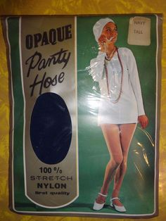 New In Package!  Vintage 1960's Opaque Navy Blue Pantyhose - Tall -