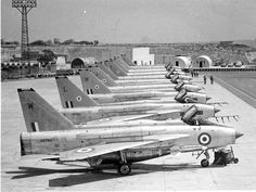 """british-eevee: """" English Electric Lightning jets at rest at an airbase in Malta (Date unknown) """" Navy Aircraft, Ww2 Aircraft, Fighter Aircraft, Fighter Jets, Military Jets, Military Aircraft, War Jet, Airplane Flying, Aviation Image"""