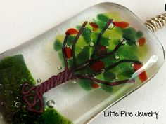 Tree Necklace Fused Glass Necklace Tree of by LittlePineJewelry