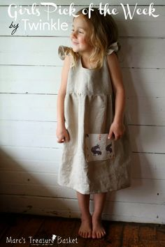 Girls Pick of the Week - Everyday Dress in Grey Linen by Twinkle