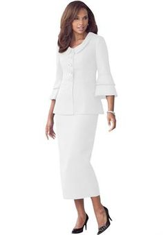 cbda65f126d7d Flattering Tiered Sleeve Skirt Suit