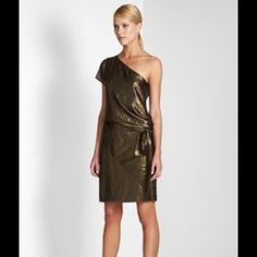"""✨REDUCED✨BCBGMAXAZRIA Bronze Dress NWOT Separate tie belt allows you to change the desired length and fit of the dress. Sheer outside layer, fully lined. Bust 36"""" Waist 32"""" Hips 34"""" Length 39"""". Hand wash cold. Lay flat to dry. Picture from the BCBG website. Never been worn. Excellent condition! Offers welcome! BCBGMaxAzria Dresses"""