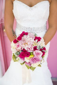 Pink and White Rose and Dahlia Bouquet