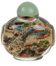 China 20. Jh. Neihua - A Chinese Glass Snuff Bottle - Tabatieré Chinois Cinese