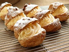This cream puff recipe is made with choux pastry and filled with vanilla pastry cream. Make frozen cream puffs and fill them with vanilla ice cream. Italian Pastries, Italian Desserts, Just Desserts, Delicious Desserts, Dessert Recipes, Yummy Food, Italian Cookies, Dessert Food, Puff Pastries
