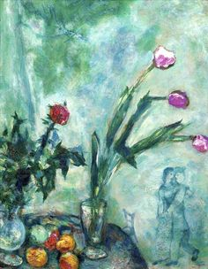 Marc Chagall, Les Tulipes Mauves on ArtStack #marc-chagall #art