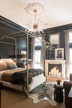 Get inspired by Glam Bedroom Design photo by Jessie D. Wayfair lets you find the designer products in the photo and get ideas from thousands of other Glam Bedroom Design photos. Glam Bedroom, Home Bedroom, Bedroom Ideas, Bedroom Black, Bedroom Makeovers, Black Bedrooms, Gothic Bedroom, Stylish Bedroom, Black White And Gold Bedroom
