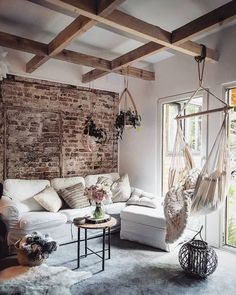 Relaxing Time living / furniture / relaxe / chill / interior / furnishing / urban / rustica / home d Boho Living Room, Cozy Living Rooms, Home Living, Living Room Decor, Living Spaces, Living Room Hammock, Living Furniture, Earthy Home Decor, Boho Decor