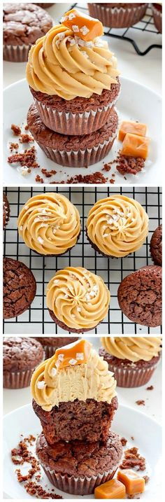 Dark Chocolate Brownie Cupcakes with Salted Caramel Frosting - these are incredible!