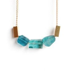 Rough Apatite Trio Necklace, $55, now featured on Fab.