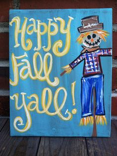 Scarecrow Fall Welcome Painted Canvas