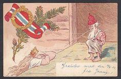 """Politisk kort """"Ola Normann spytter på Kongen -Monarkiet"""" Olaf Krohn brukt 1904 Utg John Fredriksons forlag"""