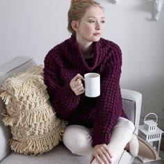 Spend those cold nights snuggled up in this Bernat Roving knit sweater. Knit | Yarnspirations | Free Pattern