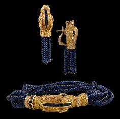 CARTIER Sapphire BeadssDiamond Fish Bracelet and Earrings - Yafa Jewelry