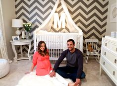 Celebs & Their Nurseries. Love the chevron wall & white furniture w/ the shag.