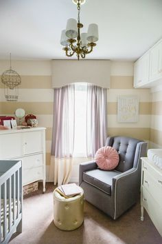 Darling nursery in a small space  (This room is TINY but so cute!) #nursery #girlnursery