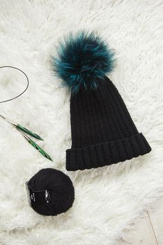 e89c83807f8 Black beanie knitted Women pom hat winter Beanie hat for mom Knitted girls hat  winter Bobble hat Knit hat for her Gift idea for sister. Slouch Beanie ...
