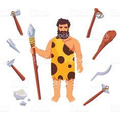 caveman neanderthal man holding club cartoon cartoon stock