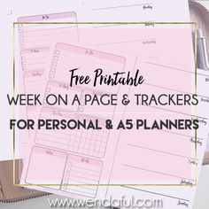 Free Planner Inserts – Week on a Page with Trackers | Wendaful